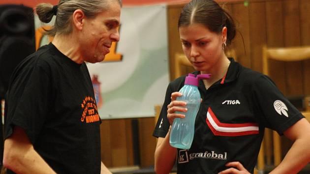Šéf hodonínského klubu Richard Brhel (vlevo) radí opoře slováckého celku Kateřině Pěnkavové.