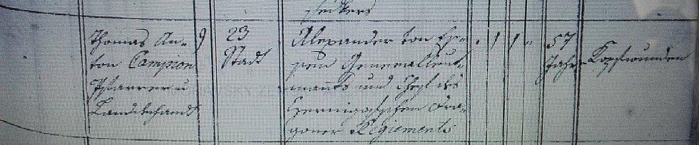 Zápis o úmrtí generálporučíka A. A. von Essena v matrice města Veselí.