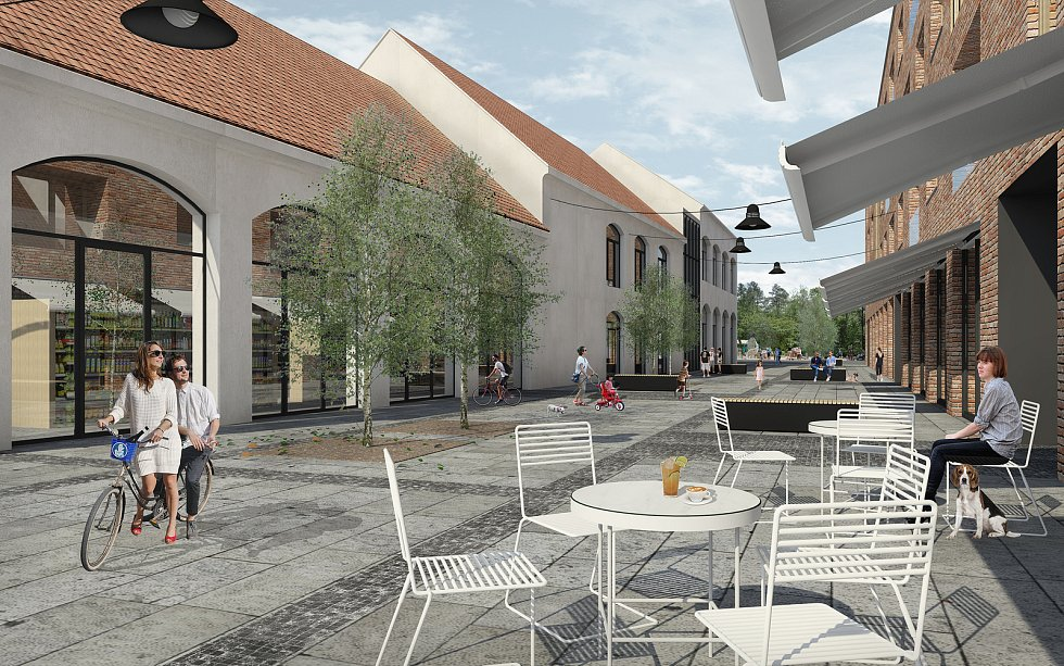 Možná nová podoba lokality v místech mlékárny a pivovaru v Kyjově. Zdroj: SENAA architekti