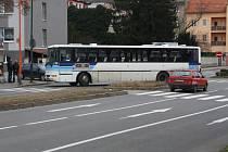 Přechod pro chodce ve Dvořákově ulici v Hodoníně.