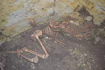 Archeologické nálezy u Mutěnice. Kostra člověka a psa.