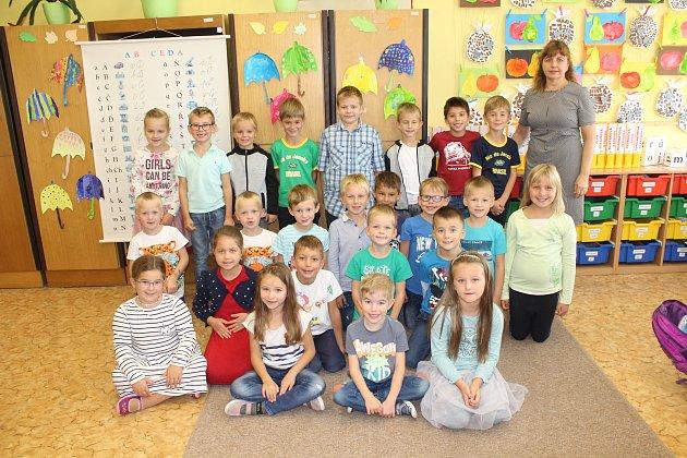 Žáci 1.B třídy Masarykovy základní školy Vracov střídní učitelkou Evou Šterclovou