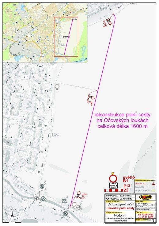 Uzavírka polní cesty v Očovských lukách u Hodonína. Zdroj: MěÚ Hodonín