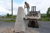 Práce na soše knížete Rastislava, která bude stát od července na Nákle. Jitka Stoklasová