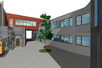 Vizualizace. Pohled na zdravotní středisko v multifunkčním domě a byty z vnitřního traktu.