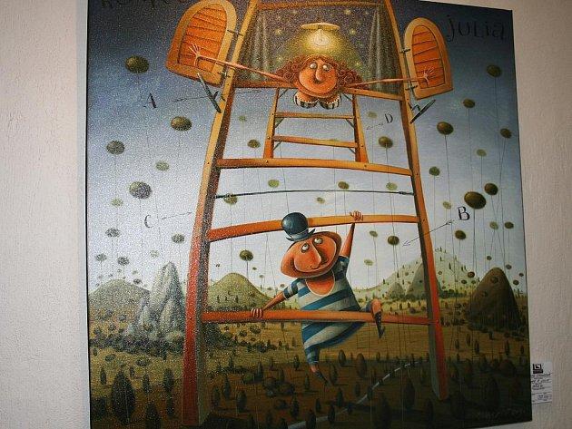 Peter Stankovič vystavuje své obrazy v Galerii originálů v Hodoníně.