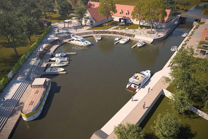 Vizualizace rozšířeného přístaviště u Baťova kanálu ve Strážnici.