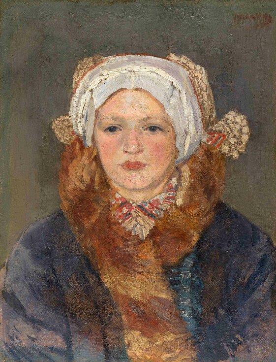 Cyril Mandel, Portrét ženy v kroji, olej, plátno.