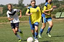 Mladá útočnice Vlkoše Aneta Svatošová (ve žlutém) si na Machačově memoriálu zahrála na velkém i malém hřišti.