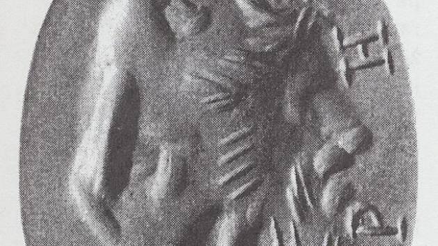 Antická gema se složeným obrazem boha Dia, sochaře Feidia a orla z Mikulčic