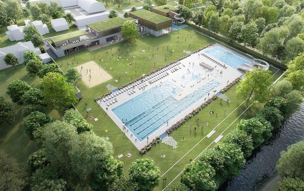 Studie nové podoby letního koupaliště v Kyjově.