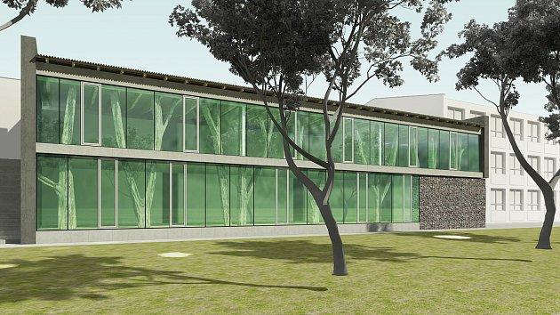 Vizualizace nové přístavby základní školy v Ratíškovice.