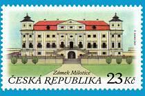Nová poštovní známka s motivem milotického zámku, z pohledu ze zahrady.