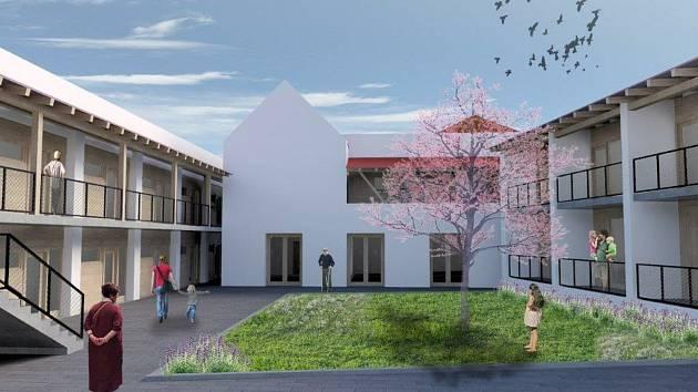 Vizualizace nového bytového domu z architektonického ateliéru Létající inženýři.