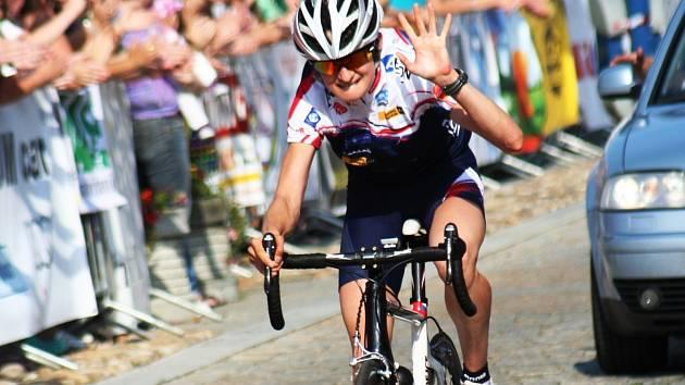 Známá česká olympionička Martina Sáblíková se na cyklistickém mistrovství České a Slovenské republiky v Kyjově představila již v roce 2010.