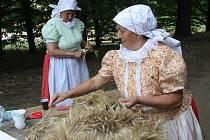 Venkovská chasa děkovala hospodáři, mlatci mlátili obilí a tetičky pletly dožínkové věnce.