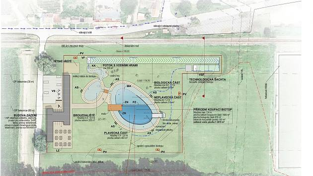 Areál plánovaného koupacího biotopu Mutěnice.