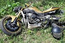 Nehoda motorkáře u Mistřína.