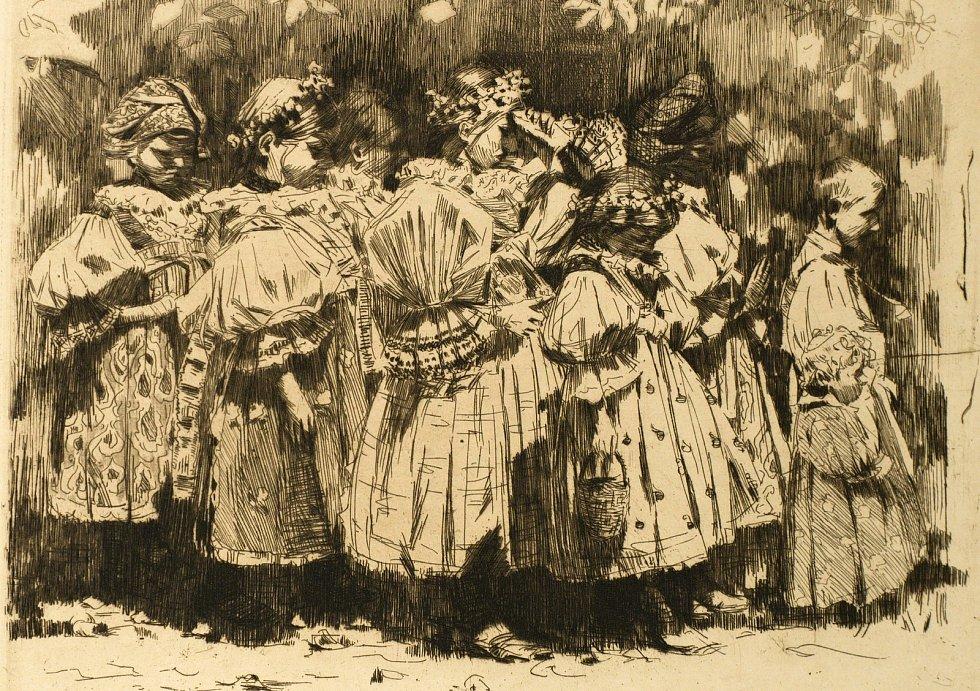 Grafika Joži Uprky ze sbírky Františka Šantavého.