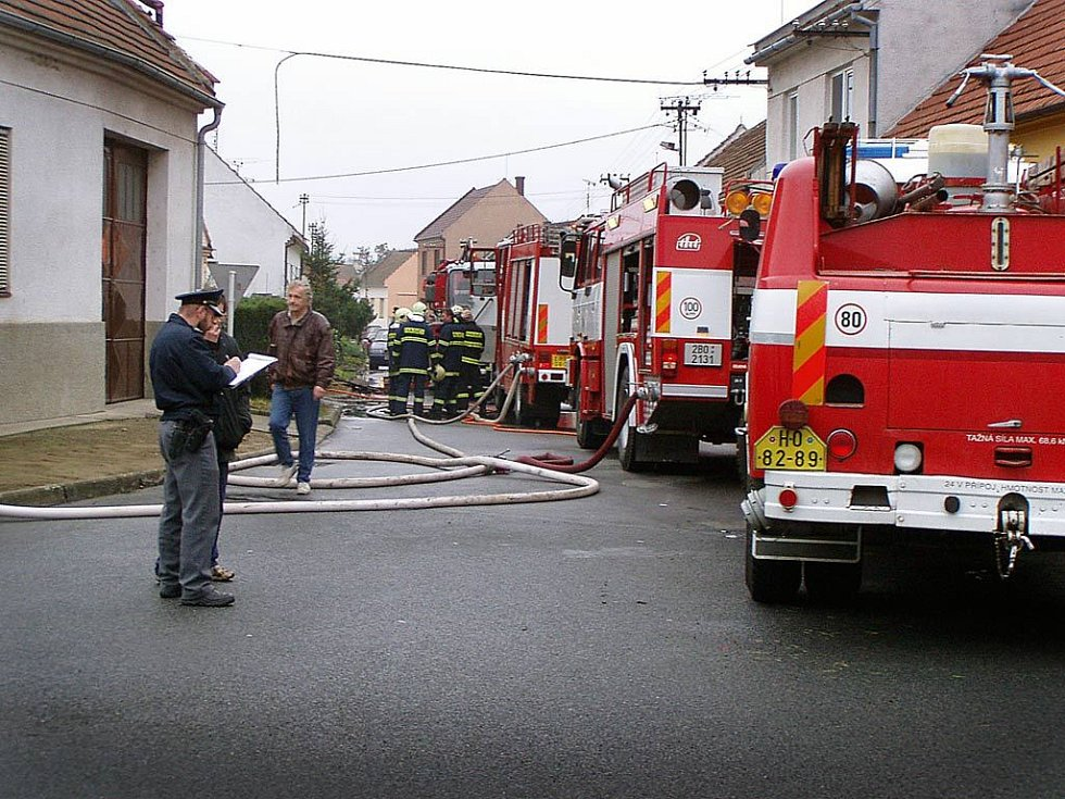 Požár ve Vracově.