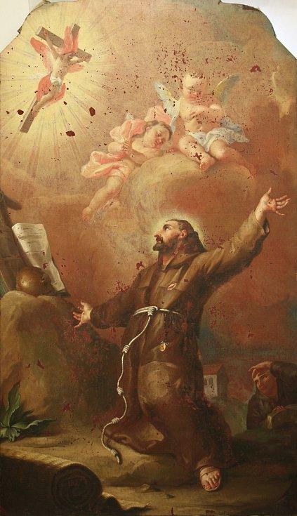 Obraz svatého Františka z Assisi v Kunštátu na Blanensku.