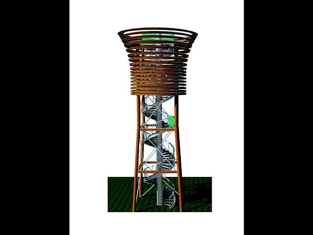 Dřevěná rozhledna s kovovým schodištěm. Tak bude vypadat rozhledna ve tvaru pohárku na veselském vrchu Radošov.
