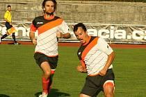 Zkušený útočník Martin Dufek (na snímku v popředí) zajistil Kyjovu v úvodním zápase nové sezony alespoň bod.