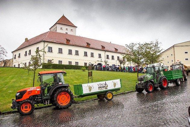 Osm stovek milovníků vína dorazilo na čejkovický okruh vinohrady, aby mohlo okoštovat víno. Navzdory větru a dešti.