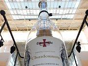 Pokus o co největší počet připíjejících si z jedné láhve vína Templářských sklepů Čejkovice.