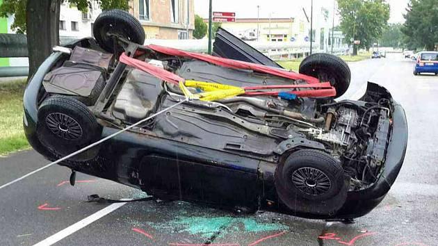Nehoda v Žižkově ulici v Hodoníně.