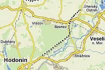 Přibližná trasa R55 na Hodonínsku. Mapka ukazuje stav jednání z roku 2006.