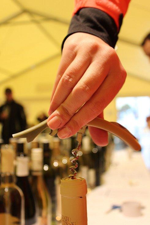 Na Masarykově náměstí v Hodoníně lidé v sobotu ochutnali svatomartinská vína. Neodradil je ani déšť.