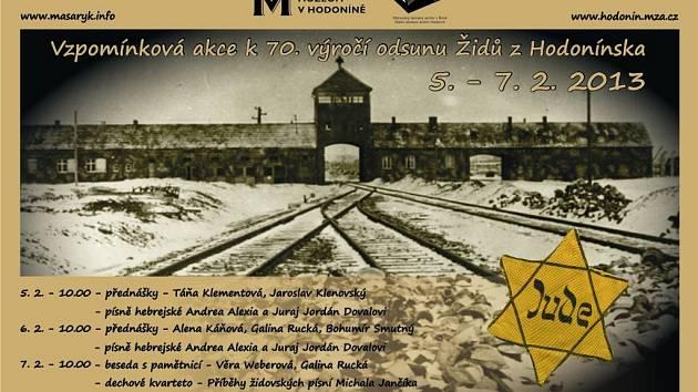 Podrobný program vzpomínkové akce k 70. výročí odsunu Židů z Hodnoínska.