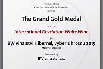 Vítězný Hibernal z B\V vinařství.