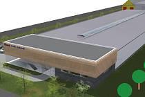 Vizualizace haly pro výrobu a skladování pro areál Velkých kasáren v Hodoníně.