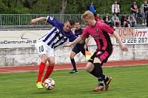 Fotbalisté Hodonína doma překvapivě prohráli s posledními Napajedly 1:2. Střelecky se proti soupeři ze Zlínska neprosadil ani Radim Kleiber (vlevo).