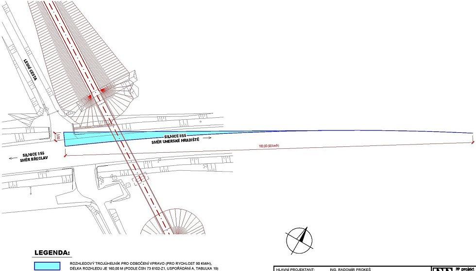 Plánovaná lávka přes I/55 v Hodoníně.