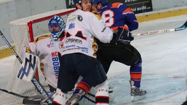 2. liga, východ: SHK Hodonín (v modrém) vs. Bobři Valašské Meziříčí