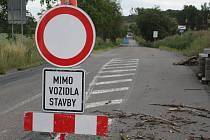 Uzavřená silnice mezi Kyjovem a Svatobořicemi.