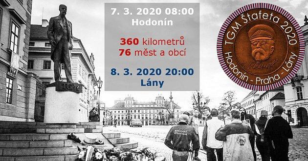 Běžecká štafeta Hodonín - Praha - Lány.