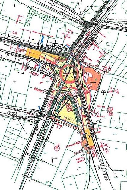 Plán budoucího kruhového objezdu vKyjově ise zaznačenými přeložkami a parkovištěm uNového světa.