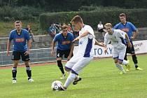 Kyjovský záložník Tomáš Prachař otevřel v osmé minutě skóre utkání s velkými Pavlovicemi, když proměnil penaltu nařízenou za ruku Kerela.