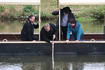 Zamykaní řeky Moravy u hodonínského jezu.