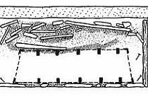Rekonstrukce velmožské hrobky s okovanou rakví.