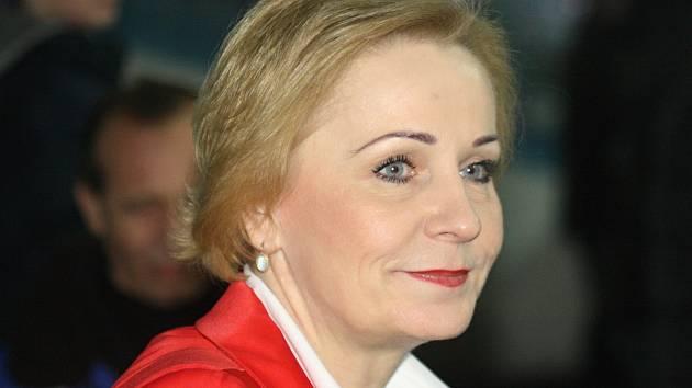 Předsedkyně hodonínského hokejového klubu Jana Gajošová (na snímku) byla po sobotním zápase se Šumperkem pořádně nazlobená na rozhodčí.