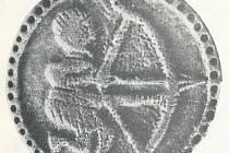 Mikulčický parohový terčík s lučištníkem.