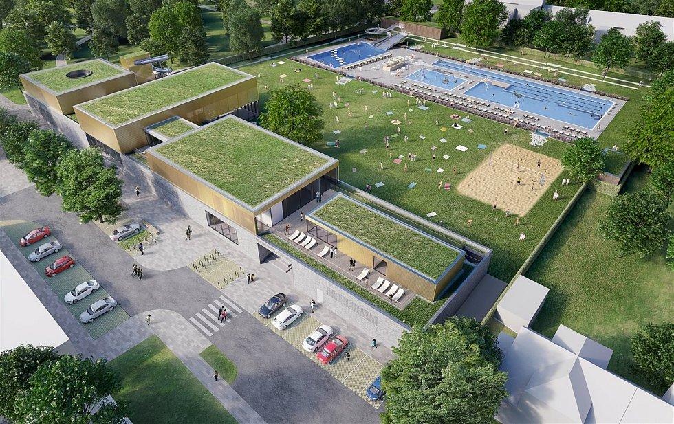 Plánovaná podoba nového letního koupaliště v Kyjově s krytým bazénem.