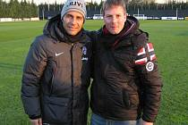 Hodonínský trenér Mario Rossi se na stáži v Juventusu Turín setkal i s koučem italského týmu Antonio Contem (vlevo).
