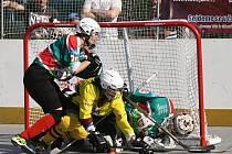 Exhibiční zápas mezi ženskými týmy Rebels Skalica (zelené dresy) a Eagles Brno byl součástí Týdne s hokejbalem, který se koná v areálu Základní školy Hutník ve Veselí nad Moravou.