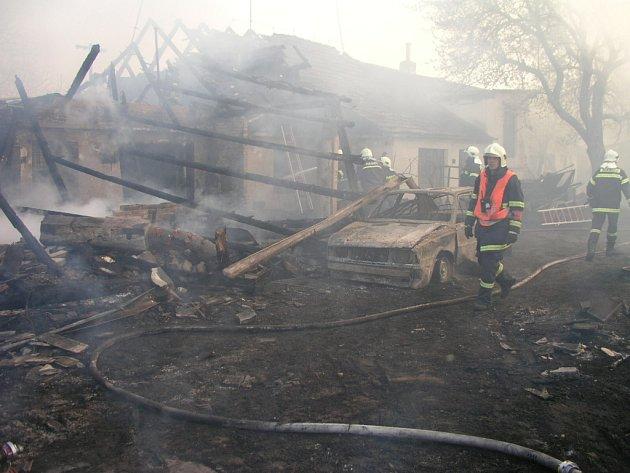 Požár stavení ve Bzenci